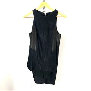 Rag & Bone sleeveless black leather accent top S